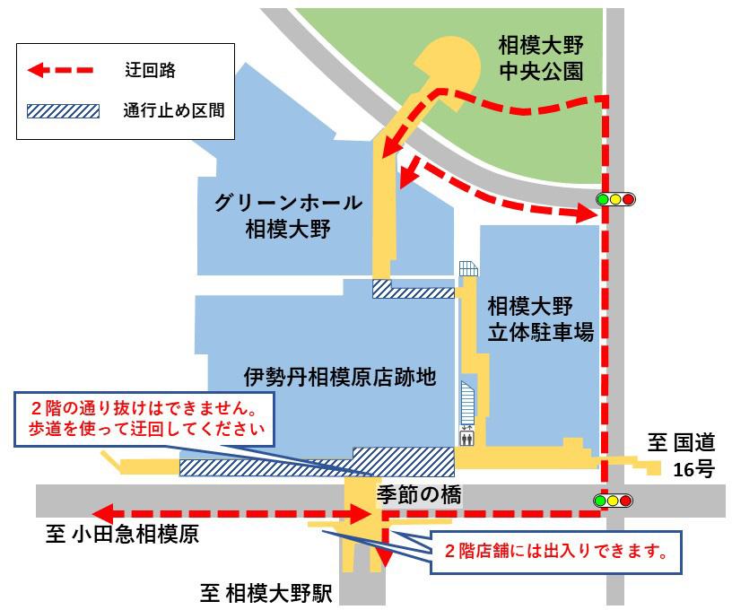 駅方面からのアクセスについての案内図